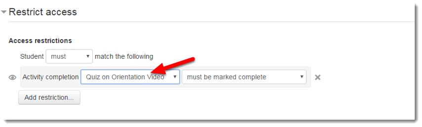 "Using the drop down menu, choose ""Quiz on Orientation Video""."