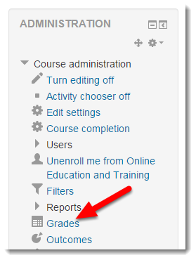 Click on Grades in the Administration block.