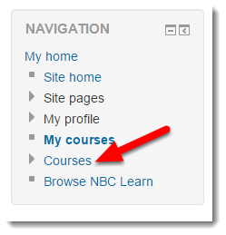 Click on Courses in the Navigation block.