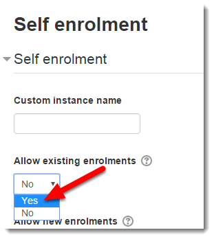 Use the drop down menu to select Yes for Allow existing enrolments.