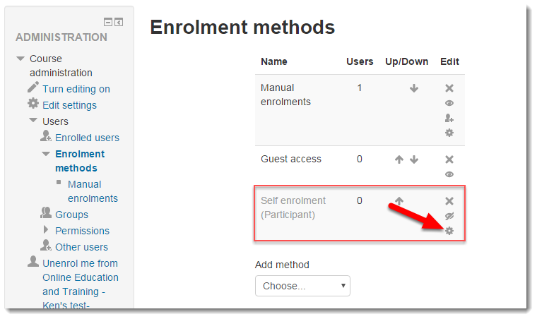 Click on the Cog wheel for Self enrollment (participant).