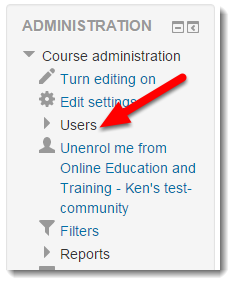 Click on Users in the Administration block.