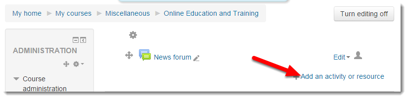 Click on Add resource or activity.