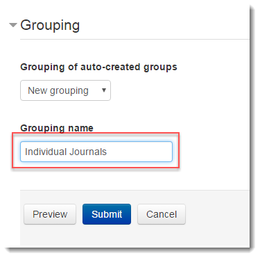 Type a name for the new grouping.