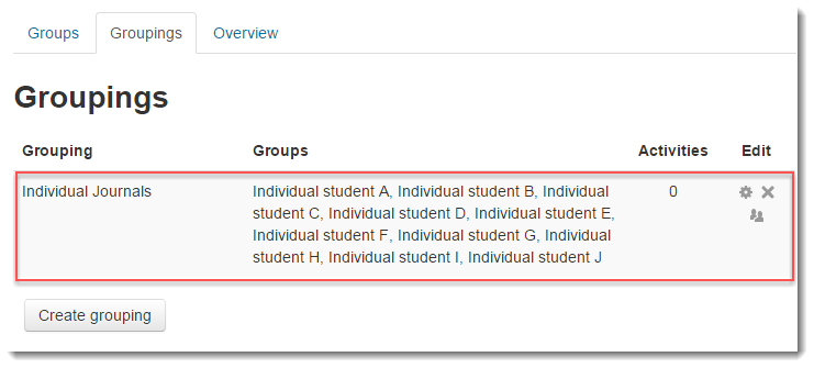 Verify that all of the groups are included in the grouping.