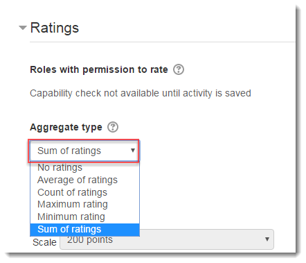 Select an aggregation type, like Sum of ratings.