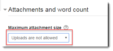 Use the drop down menu to not allow attachments.