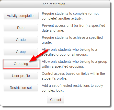 Click on Grouping.