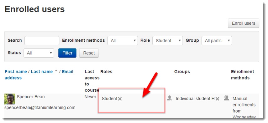 Locate the user in the list and click within the are showing the user's role.