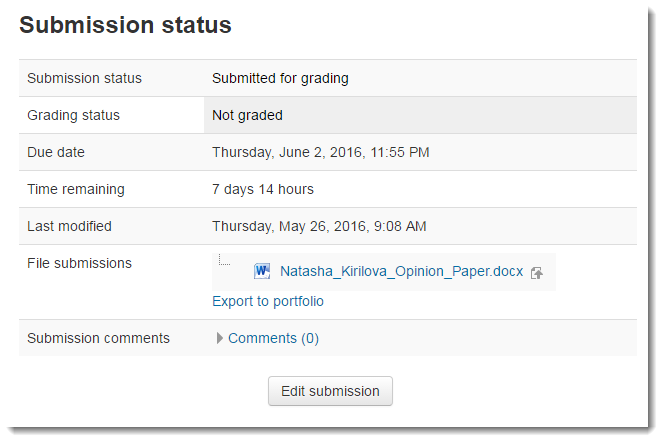 The Submission status section will update.