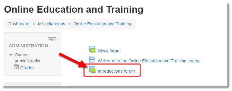 Click on the title of the forum.