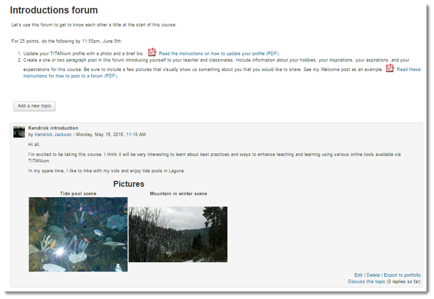 View your post to the forum.