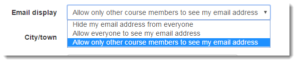 Scroll down to Email display and decide whether to keep your email private from other students.