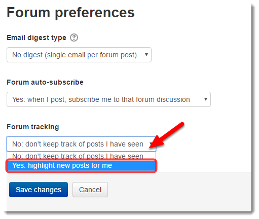 Use the drop down menu to select to highlight new posts for me.