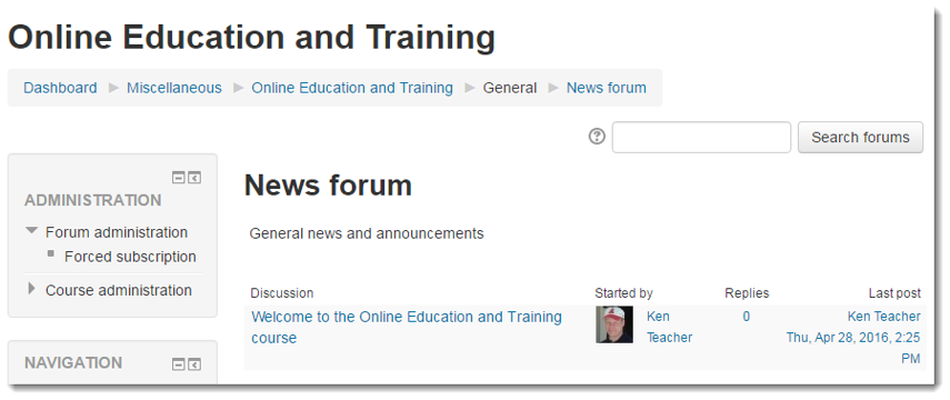 The News forum displays.