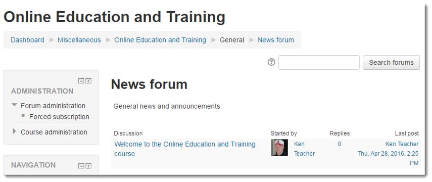 The News forum displays.
