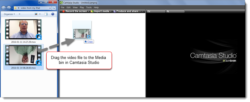 Drag the upside video file to the Media bin of a new Camtasia Studio project.