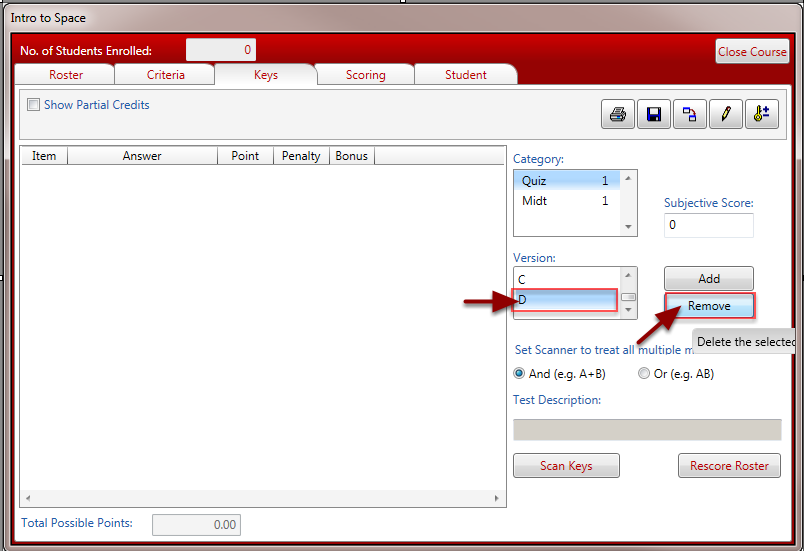 Remove any unneeded versions from the Version list.