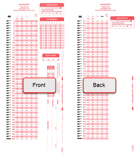 Scantron Form X-101864-PAR-L