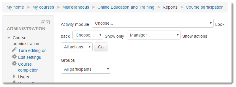 The Course participation report page displays with several drop down menus.