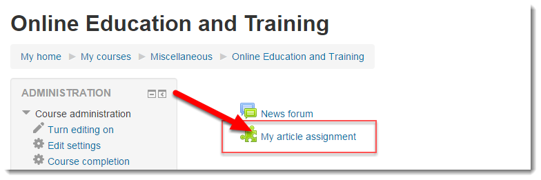 Click on the Turnitin assignment link.