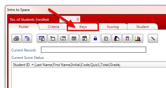 Click on the Keys tab.