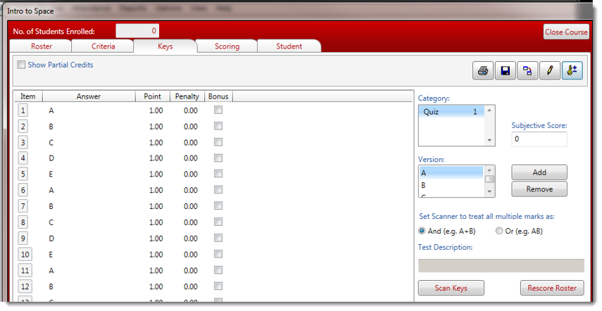 The Keys tab is now populated with the correct answer for the selected Version.