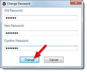 Complete the form to change your password and click on Change.