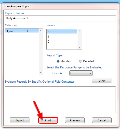 If you didn't preview the report, you can click on Print button to print the report onto the default printer.