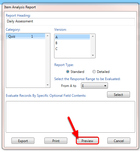 Click the Preview button to display the report on the screen.