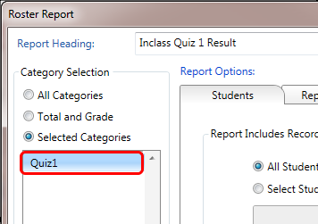 Choose a quiz under Category Selection or 'All Categories' for a comprehensive report.