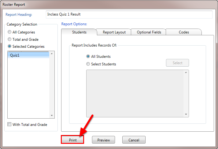 Click on Print to print the report on the default (or currently selected) printer.