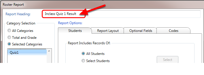 In the pop-up window type a Report Heading name (optional).