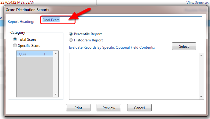 In the pop-up window, type a Report Heading name (optional).