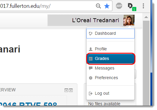 Select Grades from the dropdown menu.