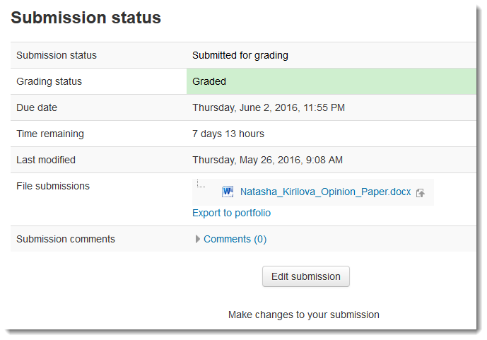 Scroll down to the Submission status section.