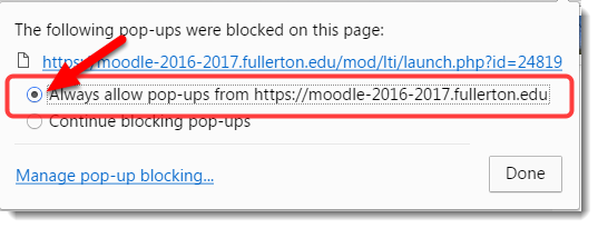 Select to always allow pop-up from this site.