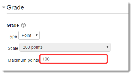 Under Grade, type the appropriate number of points.