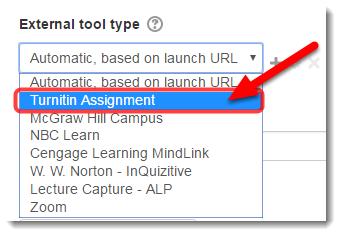 Under External tool type, select Turnitin Assignment.