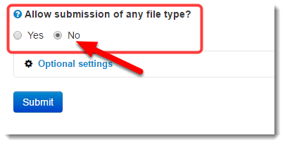 Select to not allow any file type.