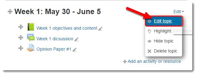 Select Edit topic.
