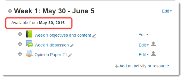 The restriction now displays below the Topic header.