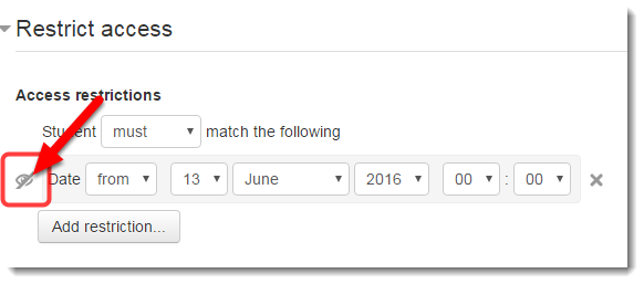 Click on the EYE next to the date restriction.