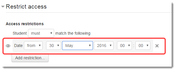 Set the date as desired.