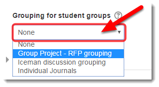 If you only have one set of groups, leave Grouping at None.