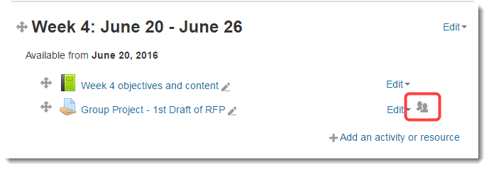 The Assignment on the main course page will now show the icon for Separate groups.