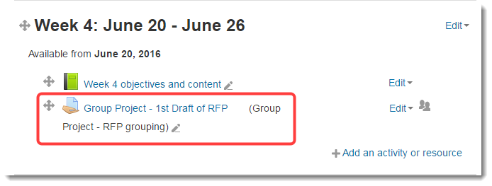 If you have set a grouping under Common module settings, that setting will display on the course main page.