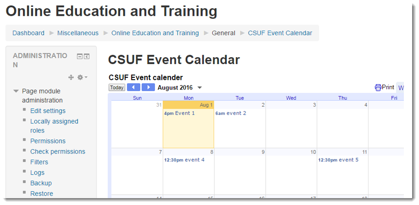 The calendar now displays within your course.