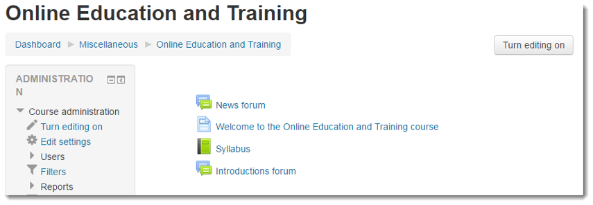 Enter your course in TITANium in a new web browser window.
