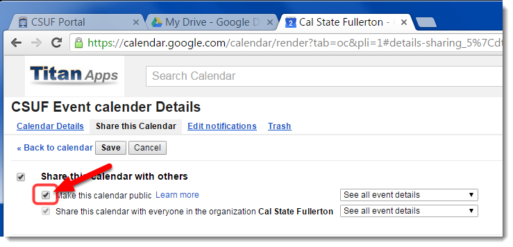 Check the box for 'Make this calendar public'.
